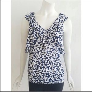 Ric Rac Anthropologie Blue and White Ruffle Top